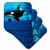 3dRose LLC Killer Whales Coaster, Soft, Set of 4