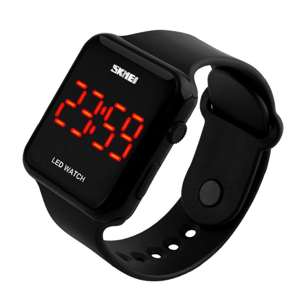 Amazon.com: Unisex Square Large Face LED Digital Watch Electronic for Men Watch for Women Student Silicone Watches (Black): Watches