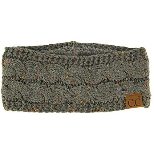 Winter CC Warm Fuzzy Fleece Lined Thick Knit Headband Headwrap Hat Cap Confetti Natural Gray