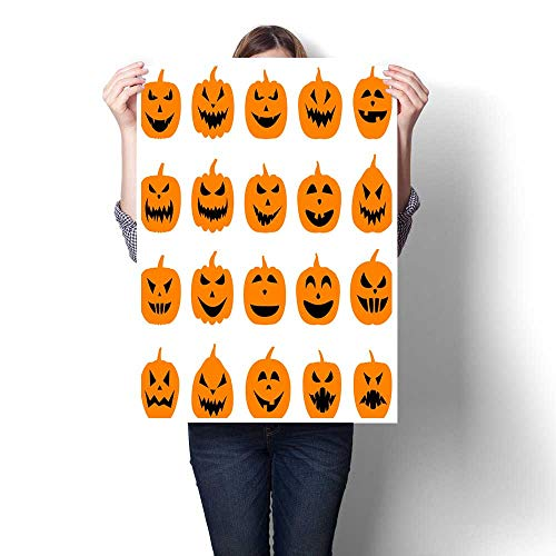 homehot Canvas Prints Wall Art Halloween Pumpkin Faces