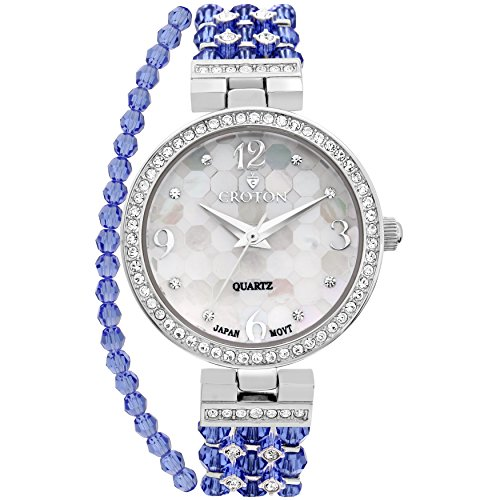 warovski Bead Watch with Austrian Crystals and Coordinated Bracelet - CN207563RHBL (Womens Austrian Crystal Watch)