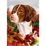 Best of Breed Fall Leaves Full Size Flag Brittany Spaniel