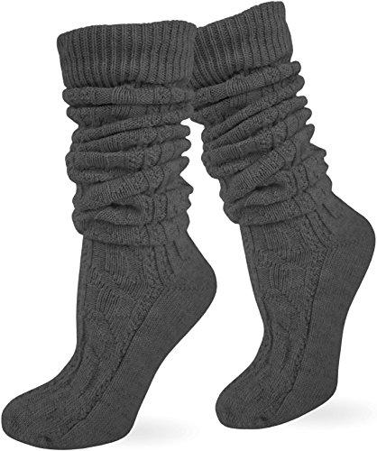 Trachten Umschlag Socken im Landhaus-Stil mit aufwändiger Applikation Farbe Anthrazit extra lang Größe 43/46