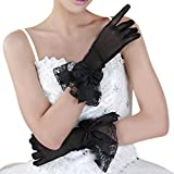 Fakeface Women Bridal Evening Party Wedding Wrist Length Gloves Black