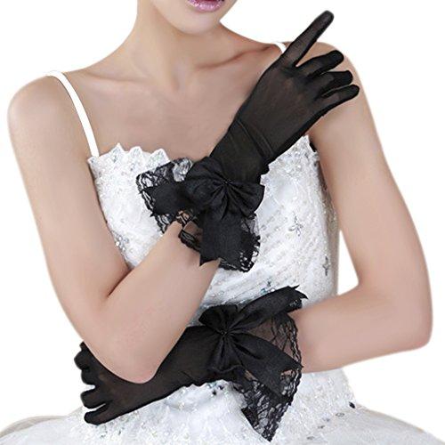 Short Wedding Party Gloves - Fakeface Women Bridal Evening Party Wedding Wrist Length Gloves Black