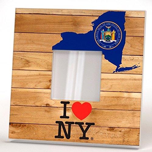 Estado New York Espejo Pared Con Marco Arte Impresión Cartel Madera Regalo Mapa Bandera Amor Diseño