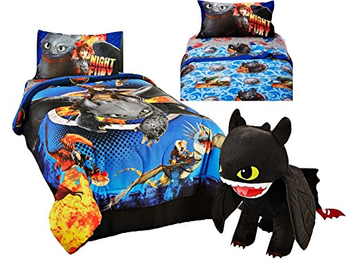 5pc TWIN Size HOW TO TRAIN YOUR DRAGON 2 REVERSIBLE Comforter & Sheet Set + NIGHT FURY PILLOW (Dragon Comforter Set)