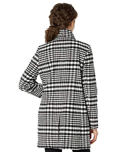 kensie Women's Casual Wool Coat, Black/White, M