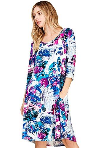 Confortables Encolure Dégagée Pour Femmes Annabelle 3/4 Poches Robe Swing Manches Floraux Royal