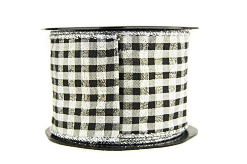 (Ribbon Bazaar Wired Black and White Check with Metallic Weave 2-1/2 inch Silver 10 yards Ribbon)