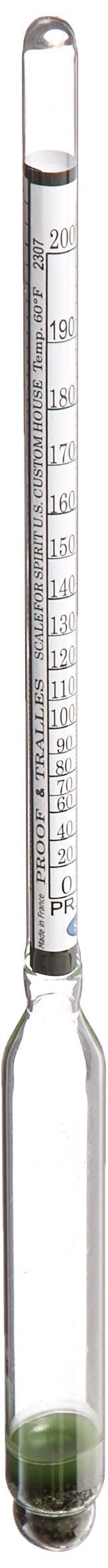 cnsdistributing 6809 Proof and Tralle or% Alcohol Hydrometer Alcoholmeter Spiritometer for Moonshine Still, Spirits, Distilled
