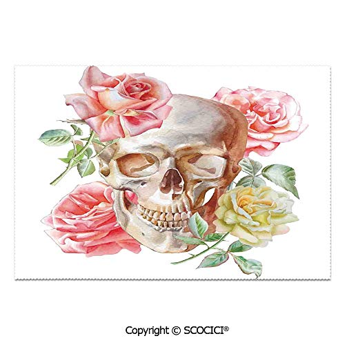 - SCOCICI Set of 6 Printed Dinner Placemats Washable Fabric Placemats Skull with Roses Living and The Dead Humor Romantic Evil Face Image Art Deco for Dining Room Kitchen Table Decoration