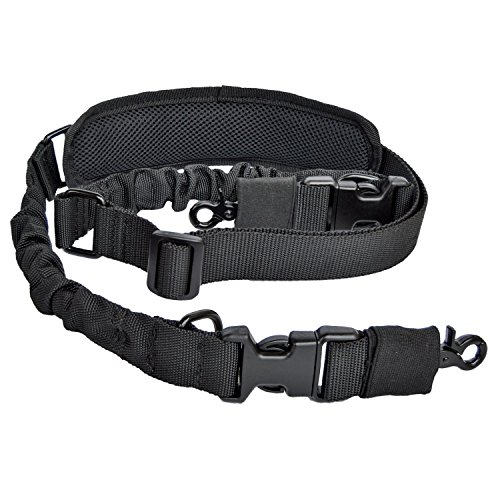 2 Point Rifle Sling Gun Strap with Shoulder Pad Adjustable Two Point Sling (Black) ()