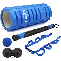 OLIVIA & AIDEN Massage Roller Set - Foam Roller, Muscle Roller stick, Peanut Roller, Massage ball, Stretch Band + Yoga Roller Carry Bag - Deep Tissue Massage and Trigger Point Therapy Accessory Set