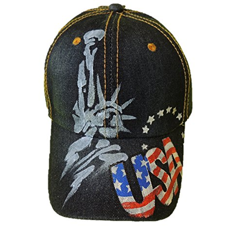 (CindyClaire Ladies Baseball Cap - Patriotic, Hand Painted on Denim Adjustable Caps (Statue of Liberty))