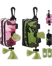 GUSEN Dog Poop Bag Holder for Leash with 2 Zipper - Poop Bag Dispenser for Leash 2 Pack - Pet Waste Bag Dispenser Velcro,Dog Waste Bag Holder Leash Attachment,Dog Bag Holder, with 2 Roll Poopy Bags