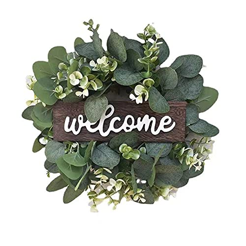 Domeal 10In Artificial Eucalyptus Wreath with Flowers Faux Greenery Green Leaves Wreath Hanging for Front Indoor Outdoor Wall Window Home Décor(Welcome)