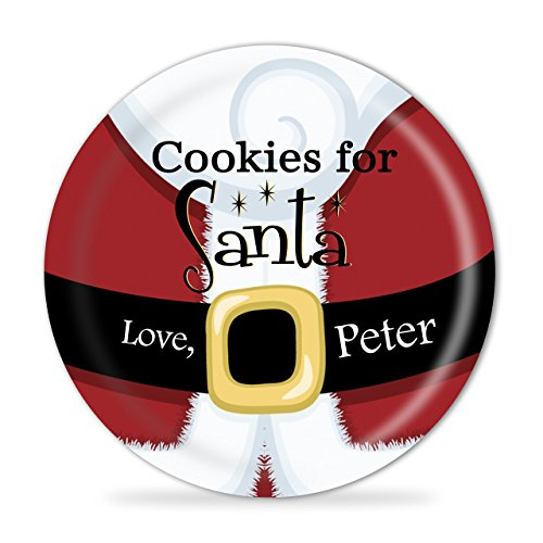 Cookies for Santa Personalized Plate - Santa Suit Kids Melamine Personalized Plate