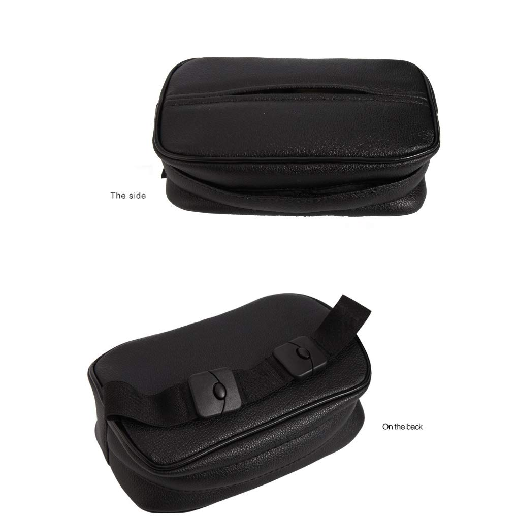 ZaCoo PU Leather Car Seat Back Tissue Holder Headrest Tissue Box Black Leather Hanging Tissue Holder Case