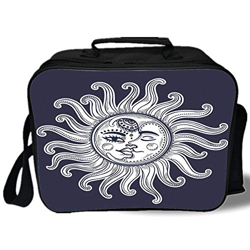 Sun and Moon 3D Print Insulated Lunch Bag,Love and Romance in Sky Eclipse at Midnight Themed Folk Elements Vintage,for Work/School/Picnic,Dark Blue White ()