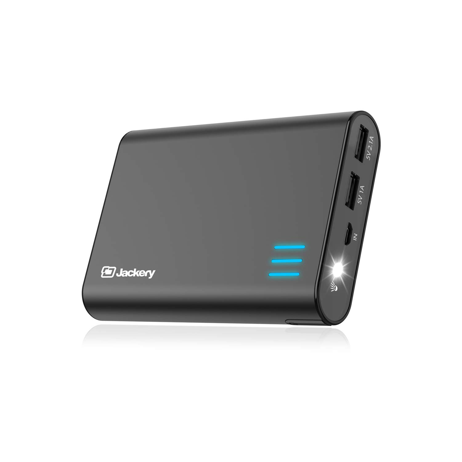 Jackery Portable External Charger Giant+ 12000mAh Dual USB Output Battery Pack Travel Backup Power Bank with Emergency LED Flashlight for iPhone, Samsung and Other Smart Devices - Black