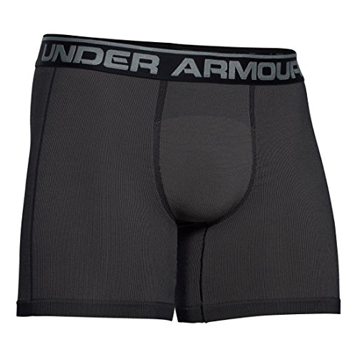 "Mens Under Armour Capital Seamless 6"" Boxerjock, Carbon Heather, Small"