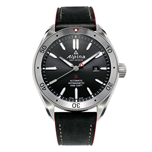 Alpina Men's 'Alpiner 4' Automatic Stainless Steel and Leather Casual Watch, Color:Black (Model: AL-525BS5AQ6)