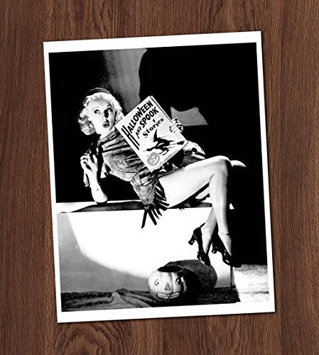 Halloween Pin Up Girl Photos (Pretty Girl Reading Pin Up Photo Vintage Art Print 8x10 Wall Art Halloween)