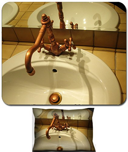 California Faucets Elbow - Luxlady Mouse Wrist Rest and Small Mousepad Set, 2pc Wrist Support design IMAGE: 23718377 detail of wash basin and steel faucet in a retro bathroom