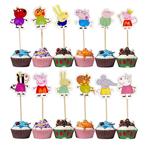 Price comparison product image FiraDesign Peppa Pig Cupcake Toppers Party Pack for 24 Cupcakes