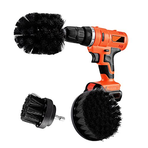 Elitlife 3 Piece Drill Powered Scrub Brush Nylon with Drill Attachment Scrubbing Brush for Car Tires,Carpet,Kitchens,Bathrooms,Showers,Tile Tubs,Boats Power Scrubber Kit(Drill is not Include)