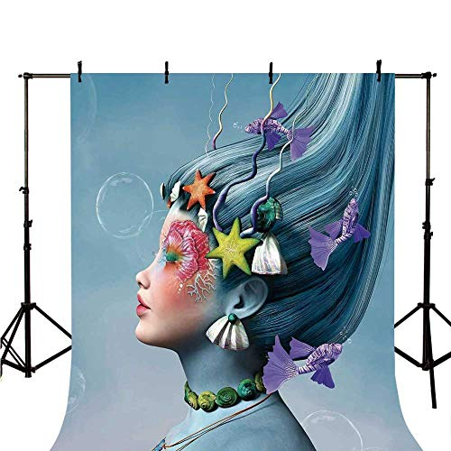 Mermaid Stylish Backdrop,Woman with Underwater Themed Make Up Hairstyle Starfishes Seashells Fishes Bubbles for Photography,39.3