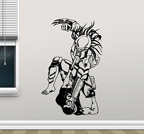 Predator Wall Decal Comics Cartoons Fighting Vinyl Sticker Superhero Alien Movie Mortal Kombat X Wall Art Design Housewares Kids Room Bedroom Decor Removable Wall Mural (Mortal Kombat Cartoons)