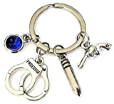gun bullet key chain - Police keychain, Handcuffs keychain, Bullet keychain, gun keychain, Police gift, Police charm keychain, Police key ring