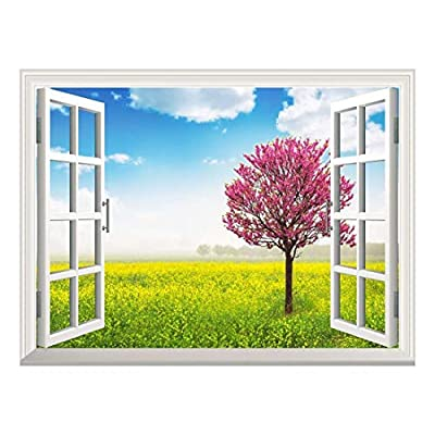 Removable Wall Sticker/Wall Mural - Blooming Tree in The Rapeseed Field | Creative Window View Wall Decor - 36