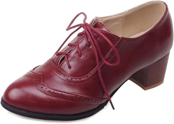 Damen Schuhe Pumps Schnürschuh Budapester Halbschuhe Blockabsatz