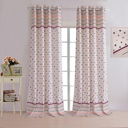 Cheap KoTing Home Fashion Modern Polyester Linen Simplicity Colorful Polka Dot and Striped Geometry Print Window Curtains Drapes Grommet Top,1 Panel,42 by 100-Inch