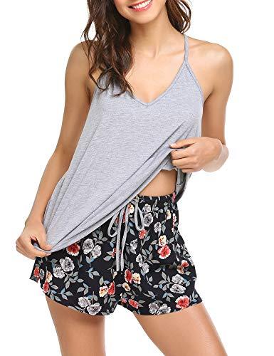 Ekouaer Sexy Sleepwear Top +Shorts Pajama Floral Pjs Set for Women,Gray,Large
