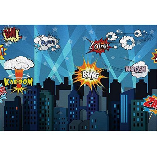 Renaiss 6x4 Vinyl Superhero Cityscape Photography Backdrop City Night Silhouette Boys Children Birthday Party Banner Cake Background Portraits Photo Studio Props