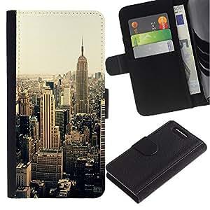 KingStore / Leather Etui en cuir / Sony Xperia Z1 Compact D5503 / Ville Sépia Jaune Vignette