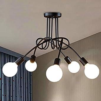 Led-Glühlampe, Schlafzimmer Lampe, Eisen gebogen Rohr, hängende ...