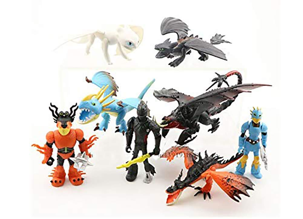 E&L Set of 8 pcs How to Train Your Dragon, 1.97'' ~3.35'' (5-8.5 cm) Tall Cartoon Figures Toys Dolls, for Night Fury Toothless Party Themed Decorations, Birthday Party Cake Decorations by E&L