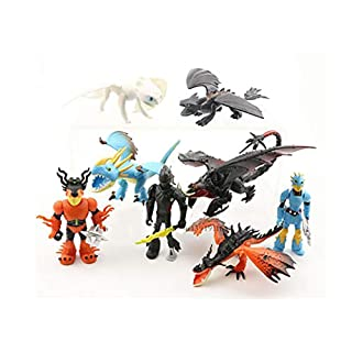 """E&L et of 8 pcs How to Train Your Dragon, 1.97"""" ~3.35"""" (5-8.5 cm) Tall Cartoon Figures Toys Dolls, for Night Fury Toothless Party Themed Decorations, Birthday Party Cake Decorations"""