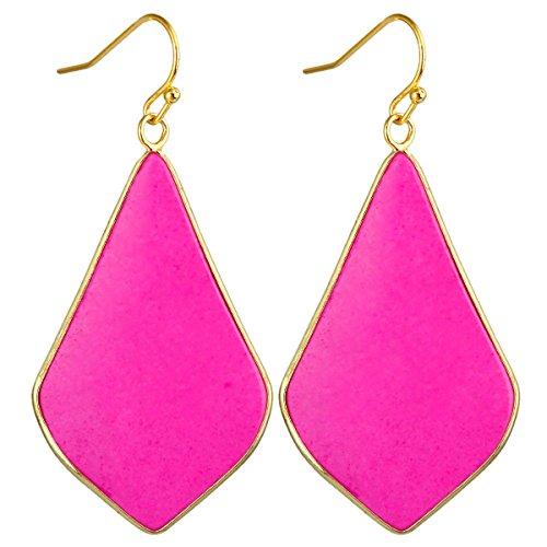 SUNYIK Women's Rose Howlite Turquoise Large Rhombus Dangle Earrings ()