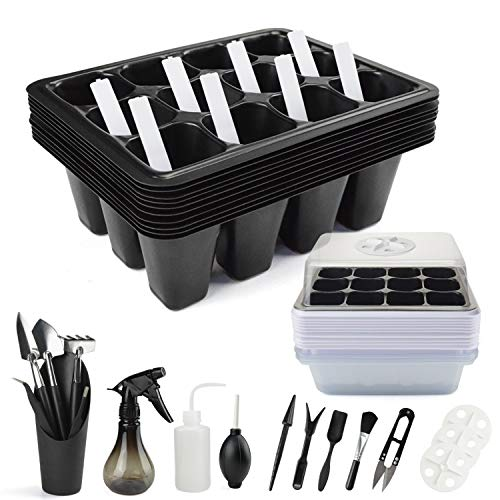 120 Cells Seedling Trays Seed Starter Tray, Humidity Adjustable Plant Germination Trays with Dome and Base Greenhouse Mini Planting Trays for Starting Seeds Growing,12 Cells per Tray
