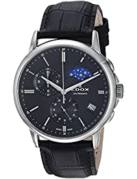Men's 'Les Bemonts' Swiss Quartz Stainless Steel and Leather Dress Watch, Color:Black (Model: 01651 3 NIN)