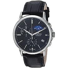 Edox Men's 'Les Bemonts' Swiss Quartz Stainless Steel and Leather Dress Watch, Color:Black (Model: 01651 3 NIN)