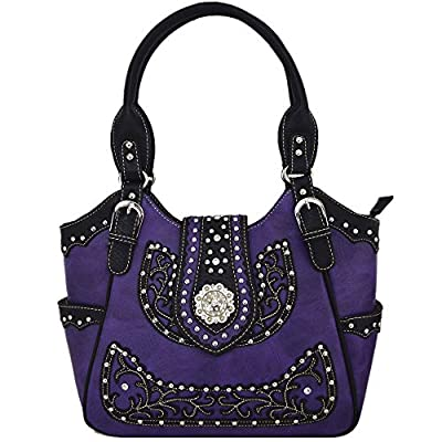 Western Style Rhinestone Concho West Concealed Carry Purse Country Handbag Women Shoulder Bag Wallet Set