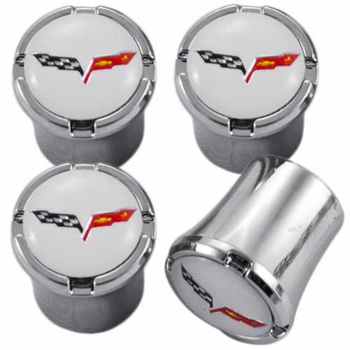 (C6 Corvette Chrome & White Flags Valve Stem Caps with Crossed Flags Logo)