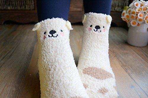 965098842ab Searchself Cute Bear Paw Warm Sleeping Fuzzy Socks for Women ...